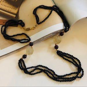Vintage Black Multi Strand Layered Bead Necklace